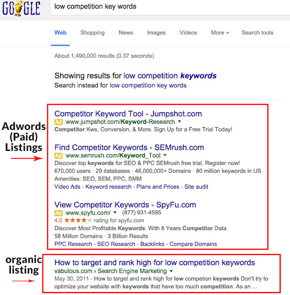 organic-seo-services-low-competition-keywords-organic-vs-paid-ads-screenshot